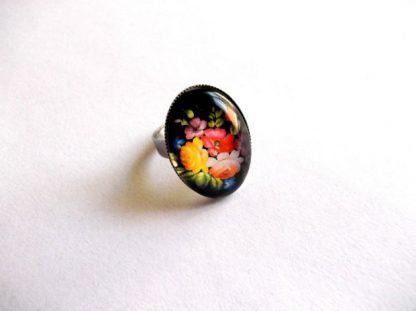 Bijuterie cu flori campenesti, inel sticla motiv floral 39166