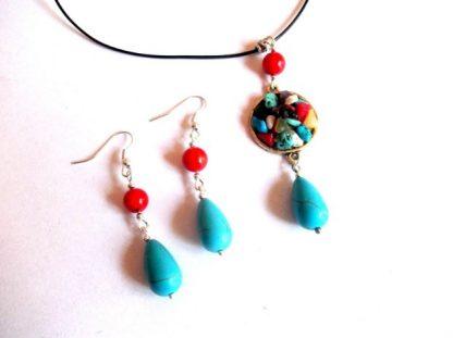 Bijuterii pietre semipretioase colorate, set bijuterii femei 39474