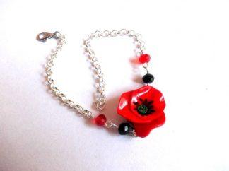 Bratara cu mac rosu, bratara din fimo cu floare de mac39436