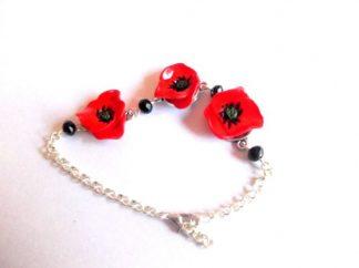 Bratara cu maci rosii, bratara din fimo cu flori de maci 39435