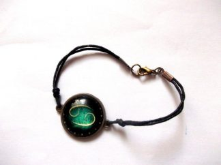 Bratara zodia rac verde si galben, bratara sticla si metal 39348