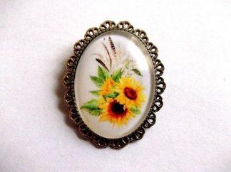 Brosa cu metal si sticla, brosa floarea soarelui 39272