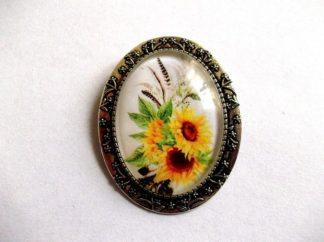 Brosa floarea soarelui, brosa metal si sticla 39267
