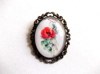 Brosa mac rosu si floare albastra, brosa sticla 39263