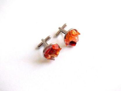 Butoni agate portocalii, butoni camasa barbati 39107