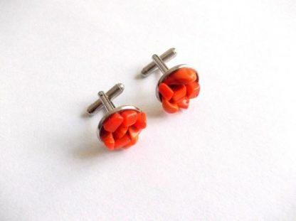 Butoni corali portocalii, butoni camasa barbati 39112