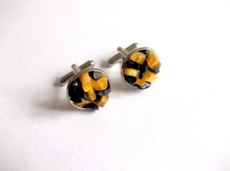 Butoni ochi de pisica si turmalina, butoni camasa galben cu negru 39006