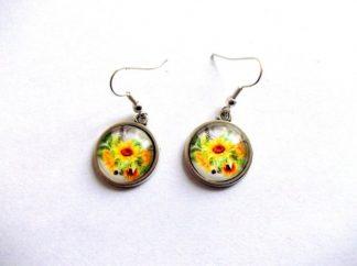 Cercei floarea soarelui, bijuterie cadou femei cercei sticla 39250