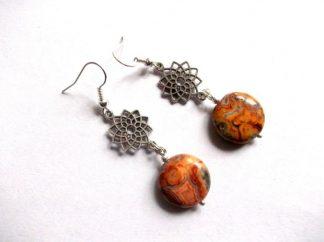 Cercei jasper portocaliu, cercei cu metal si pietre 39294