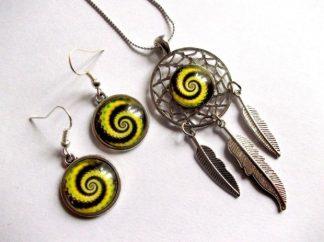 Dreamcatcher cu spirala galbena cu maro, set sticla 39150