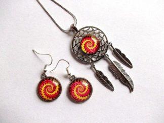 Dreamcatcher rosu cu galben, set spirala rosu cu galben 39148