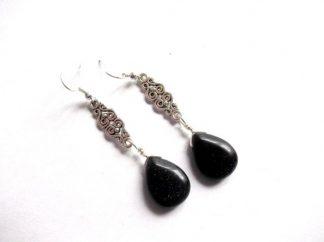Goldstone negru cercei, bijuterii femei 39292