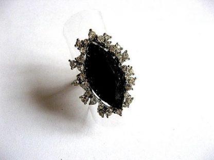 Inel cristale negre, inel reglabil femei 23027