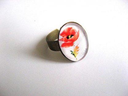 Inel cu mac rosu, inel reglabil cu sticla 28374