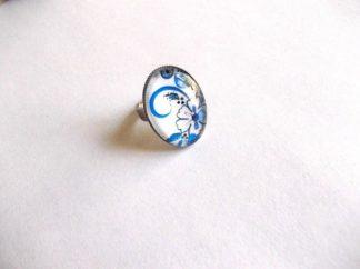 Inel cu motiv floral albastru deschis, inel femei 39165