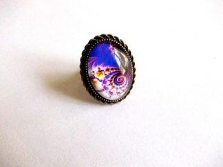 Inel cu spirala mov, galben si albastru, inel sticla 39241