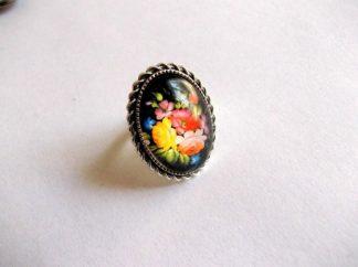 Inel femei cu flori, inel reglabil cu motiv floral 39193