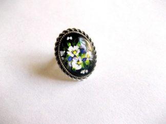 Inel flori albe si albastre, inel flori de camp 39201