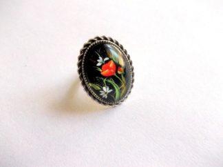 Inel flori rosii si flori albe, inel reglabil 39194