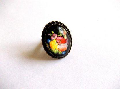 Inel flori viu colorate, inel sticla femei 39224
