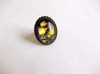Inel lalele galbene, inel sticla femei 39238