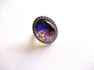 Inel metal si sticla cu model abstract galben cu mov, inel femei 39187