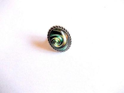 Inel model spirala verde, galben si portocaliu, inel sticla 39288