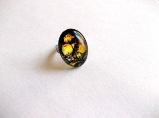 Inel sticla cu lalele galbene, inel femei 39176