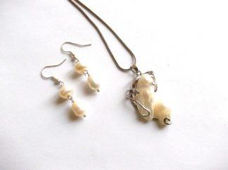 Pandantiv si cercei perle naturale, set bijuterii femei 38942