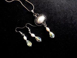 Perle naturale si cristale, set bijuterii 39050