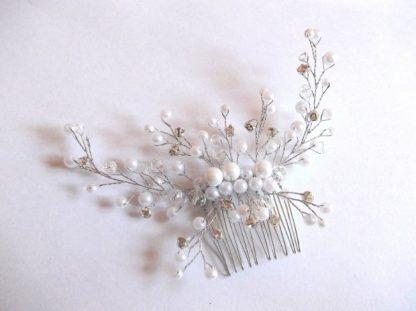 Pieptan mireasa, pieptan cristale, perle si margele sticla 39479