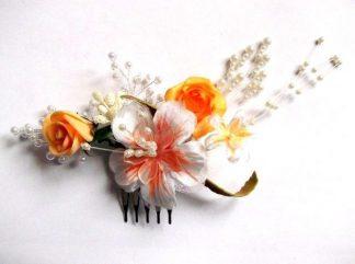 Pieptan mireasa, pieptan cu flori artificiale galbene si alb cu portocaliu 34781