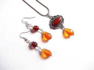 Set agate rosii si cristale portocalii, set bijuterii 39020