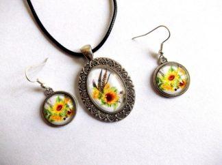 Set bijuterii floarea soarelui, set pandantiv si cercei 39247