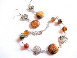 Set bijuterii jasper si agate, set bijuterii femei 39471