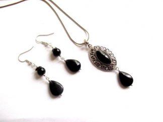 Set bijuterii onix rotund, oval si lacrima, set bijuterii 39003