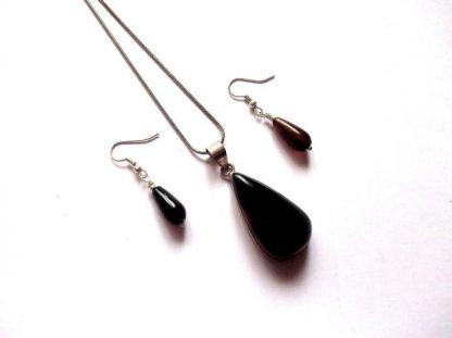 Set bijuterii pietre semipretioase negre, set bijuterii onix 38911