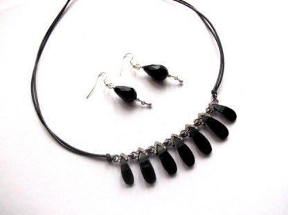 Set cristale negre, set bijuterie femei 38978