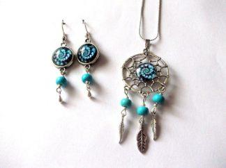 Set dreamcatcher spirala albastru inchis si albastru deschis, set bijuterii 39328