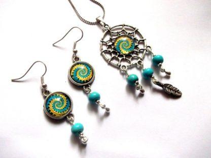 Set dreamcatcher spirala galben cu bleu, set bijuterii femei 39320 2