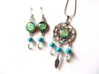 Set dreamcatcher spirala galben cu bleu, set bijuterii femei 39320