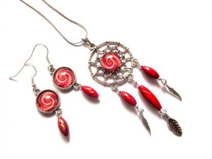 Set dreamcatcher spirala rosu cu alb, set bijuterii sticla 39318