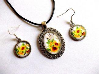 Set floarea soarelui, set sticla colier cu pandantiv si cercei 39246