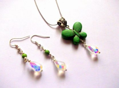 Set howlite verde si cristale, set bijuterii 38915