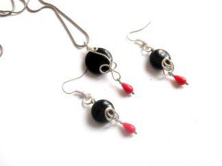 Set onix negru si coral rosu, set pietre semipretioase 38947