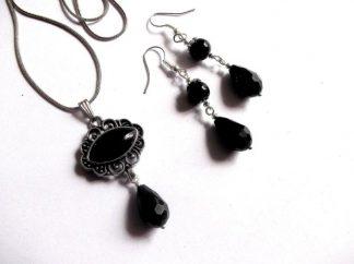 Set onix si cristale negre, set bijuterii 39022