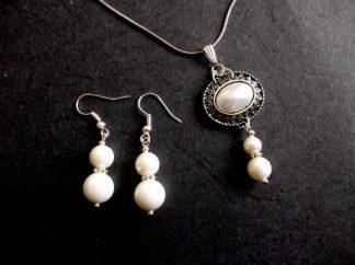 Set perle de mallorca si cristale, set bijuterii femei 39056