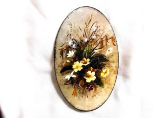 Tablou cu flori galbene, albe, mov si maro, tablou lemn 39501