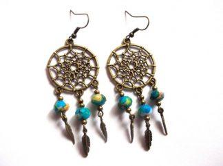 Cercei Dreamcatcher cu cristale colorate, cercei femei 39680
