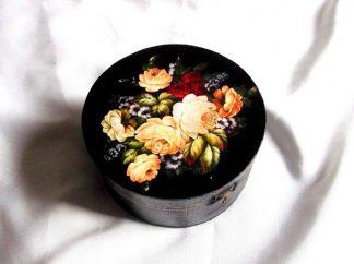 Cutie model floral pe fundal negru, cutie rotunda 39643